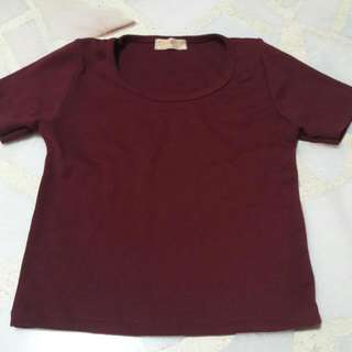 Maroon Crop Top