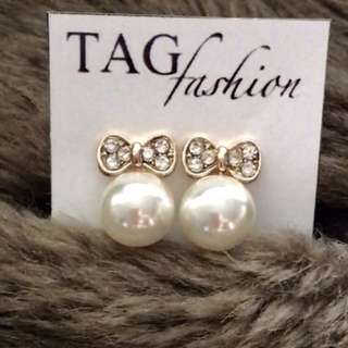 2016 New Fashion Korean Jewelry Butterfly Bow Knot Pearl Stud Earrings For Women