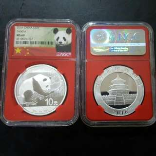 Chinese Panda 2016 Silver Coin (NGC69)