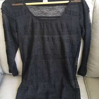 Jockey Black Lace Top Size M