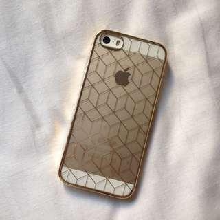 (NEW) Gold Transparent iPhone 5 5s Case