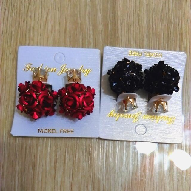 韓版雙面玫瑰耳環