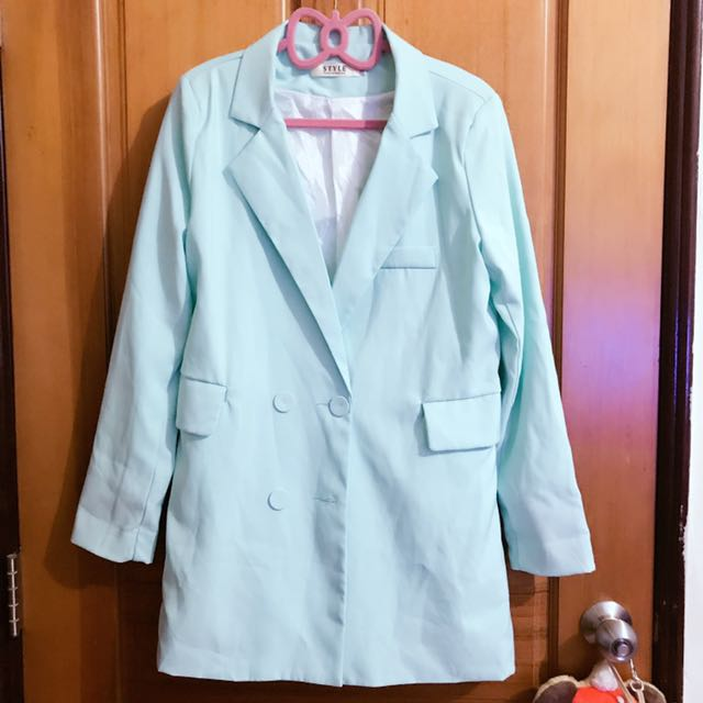 韓版蒂芬妮綠中長版西裝外套