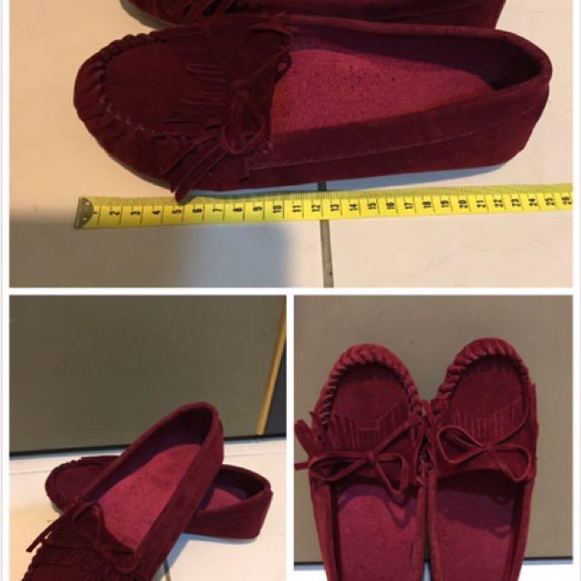 麂皮流蘇軟質透氣平底鞋