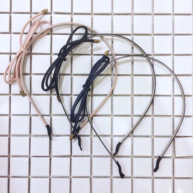 皮革蝴蝶結髮箍-深藍