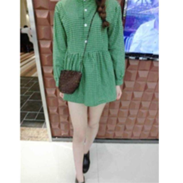 綠格子襯衫 洋裝