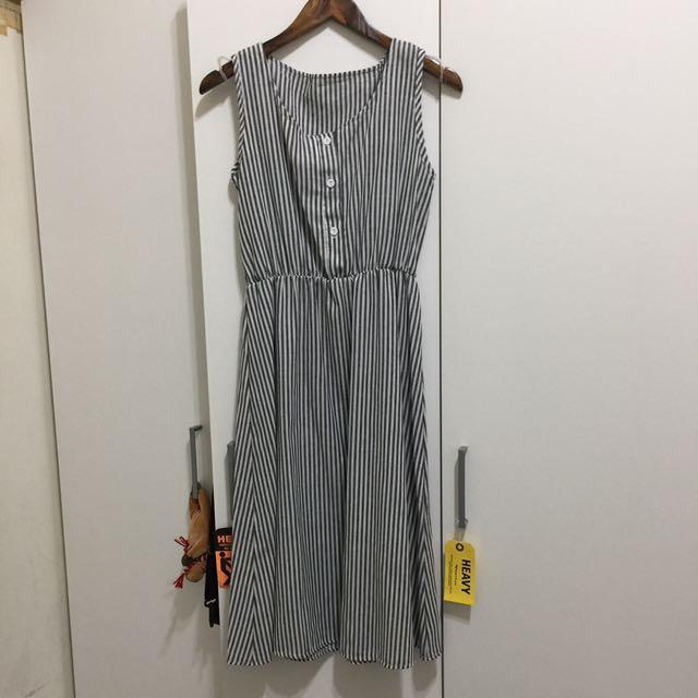 夏天 百搭無袖條紋 連身裙 連衣裙