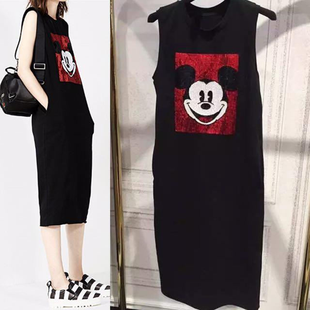 洋裝💎閃亮米老鼠無袖長洋裝 S~3XL小中大尺碼