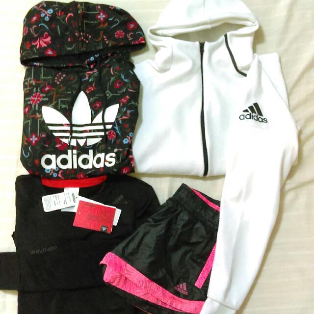 Adidas 近全新 Zne外套 雙面短褲 帽踢 刷毛衣