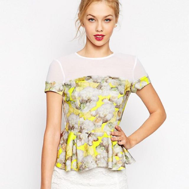 8978ad9d4af ASOS White And Floral Yellow Short Sleeve Peplum Top UK Size 14 ...
