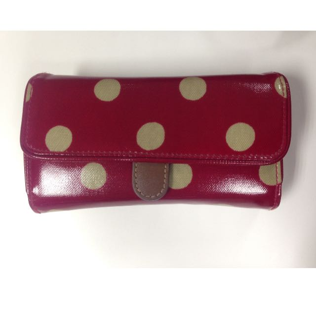 Authentic Cath Kidston Folded Trimmed Wallet Button Spot Berry592611