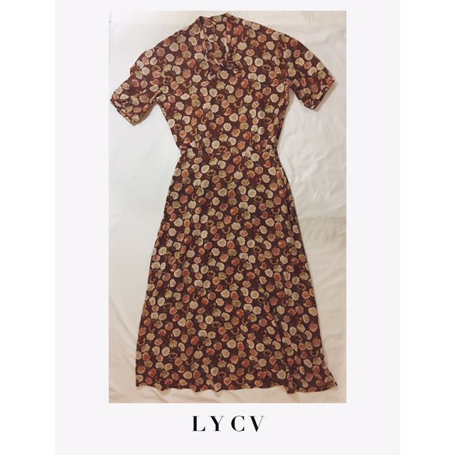 AUTUMN INSPIRED LEAF PRINTED LONG DRESS