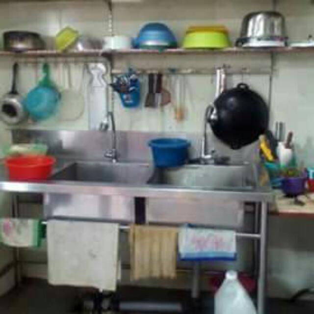 Barangan Restoran Untuk Dijual Brg2 Stainless Steel Dapur 2 Sinki Double Meja Kerja Stall Mee Canai Minuman Barang2 Lain Tv Led