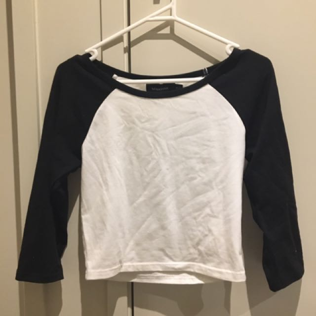 Black And White Cropped Long Sleeve Top