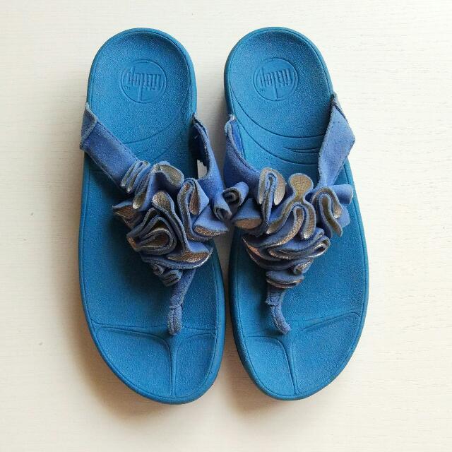 Blue flower Ruffle Fitflop Heels Sandal Sz 39