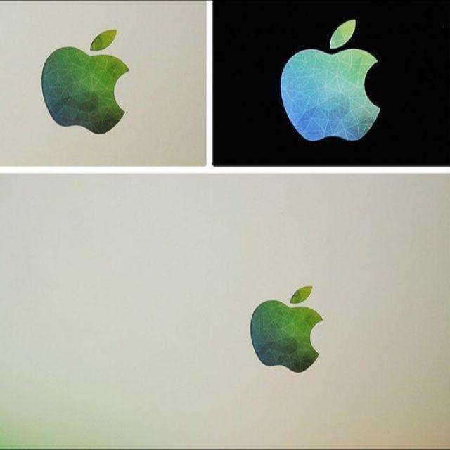 Blue Green Macbook Apple Logo Sticker