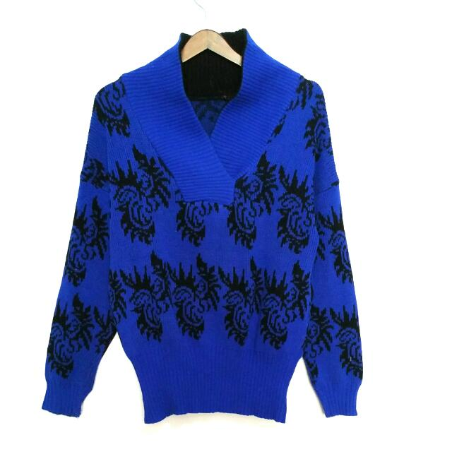 Blue Oversized Knit Sweater - Preloved