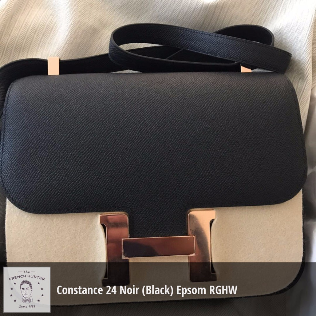 a7f836bb9876 ... cheap bnib hermès constance 24 noir black epsom rose gold hardware rghw  a stamp 2017 luxury