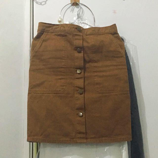 Brown Denim Skirt