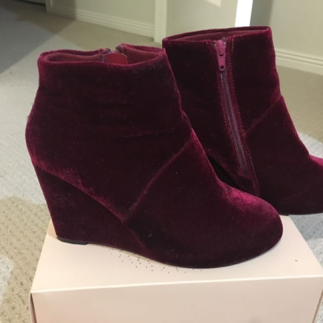 Burgundy Velvet Wedges