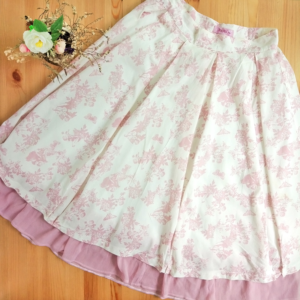 07e3f0267276c Classic/ Sweet Lolita: Pre-loved Custom Made Victorian Below Knee Pleated  Skirt With Pink Angel Butterfly Rose Prints