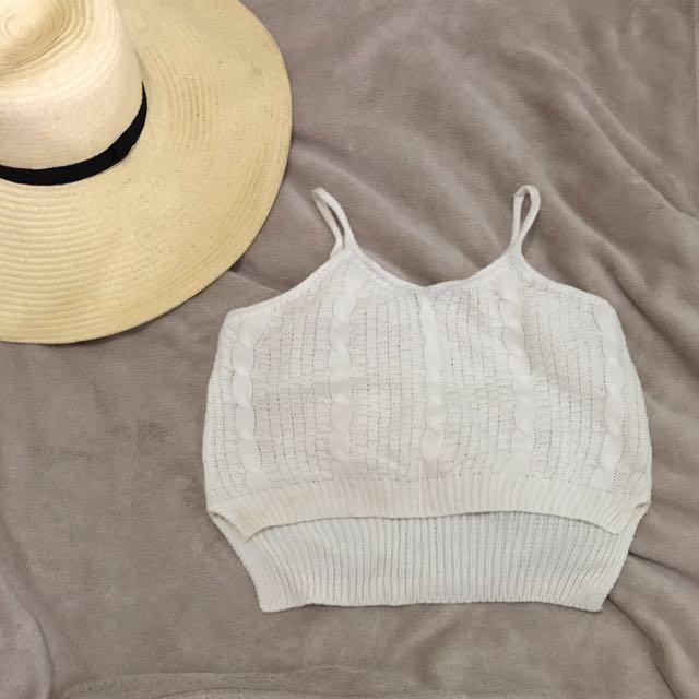 Crochet Crop Top In White
