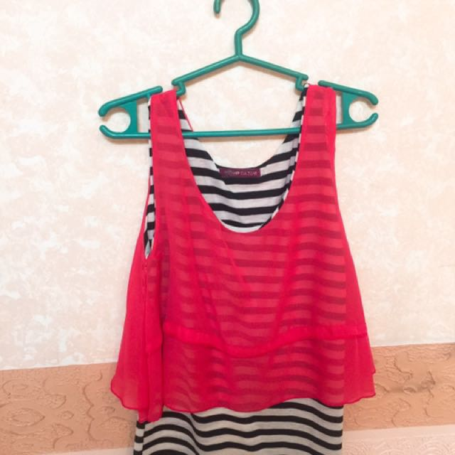 double layer pink and stripes top