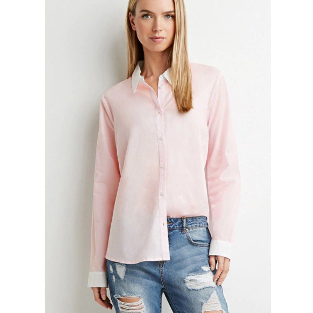 Forever 21 Contrast Collar Shirt