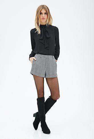 Forever 21 Cuffed Herringbone Shorts