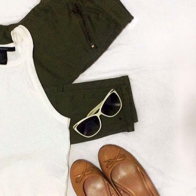 Get Both Forever21 Haltertop White And Army Green Pants For 1200
