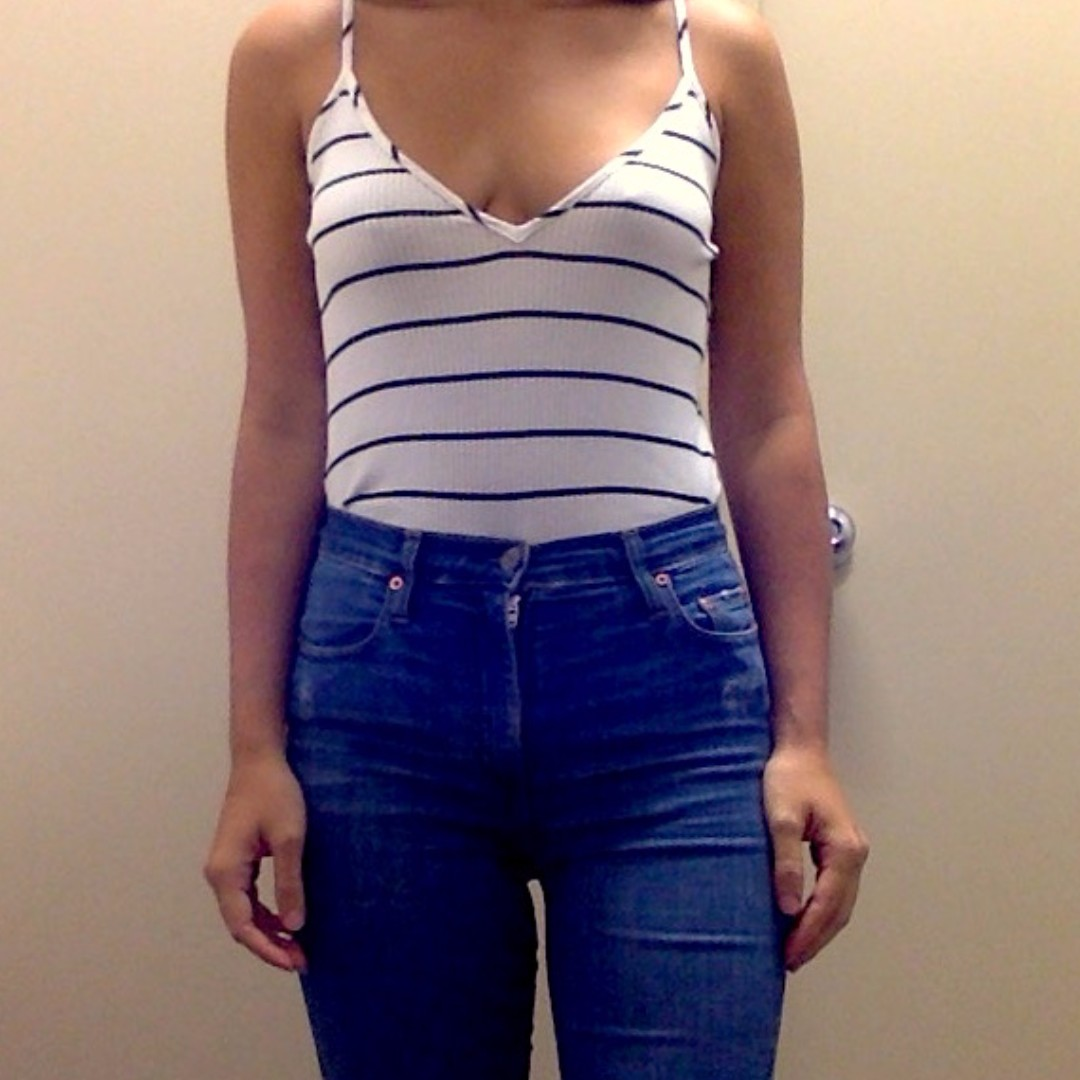 GLAMOROUS Striped Bodysuit