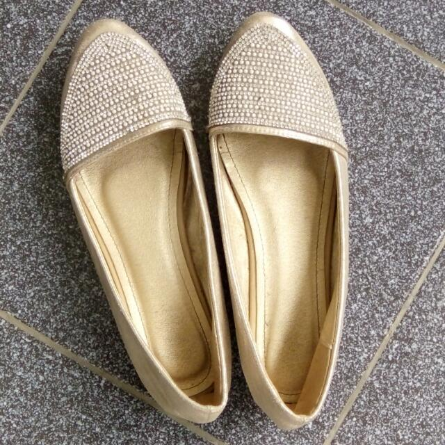Gold Flat Shoes