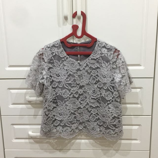 Grey Lacey Top