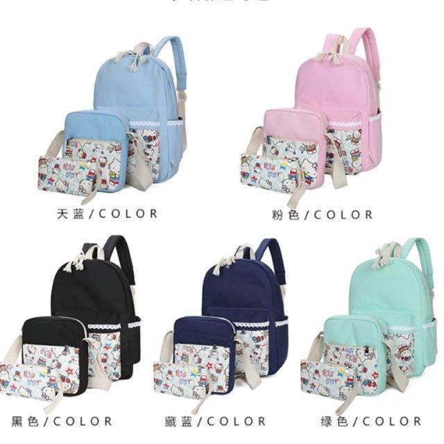 [買ㄧ送二]Hello kitty 韓版可愛蕾絲印花帆布雙肩後背包 手提包 書包 包包 休閒包