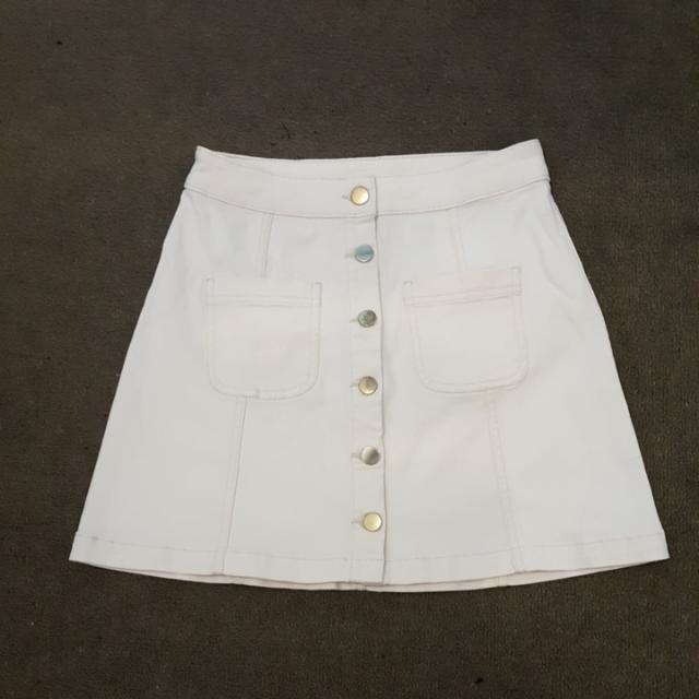 H&M White Denim Button Down Skirt
