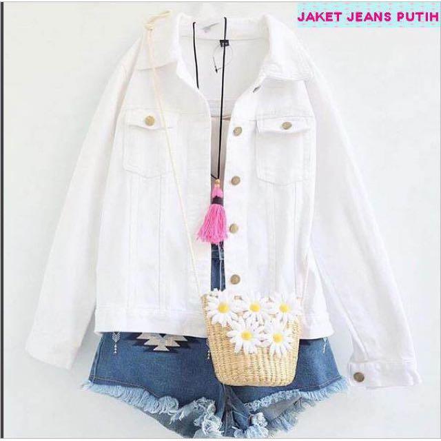 Jaket Jeans Putih Crop