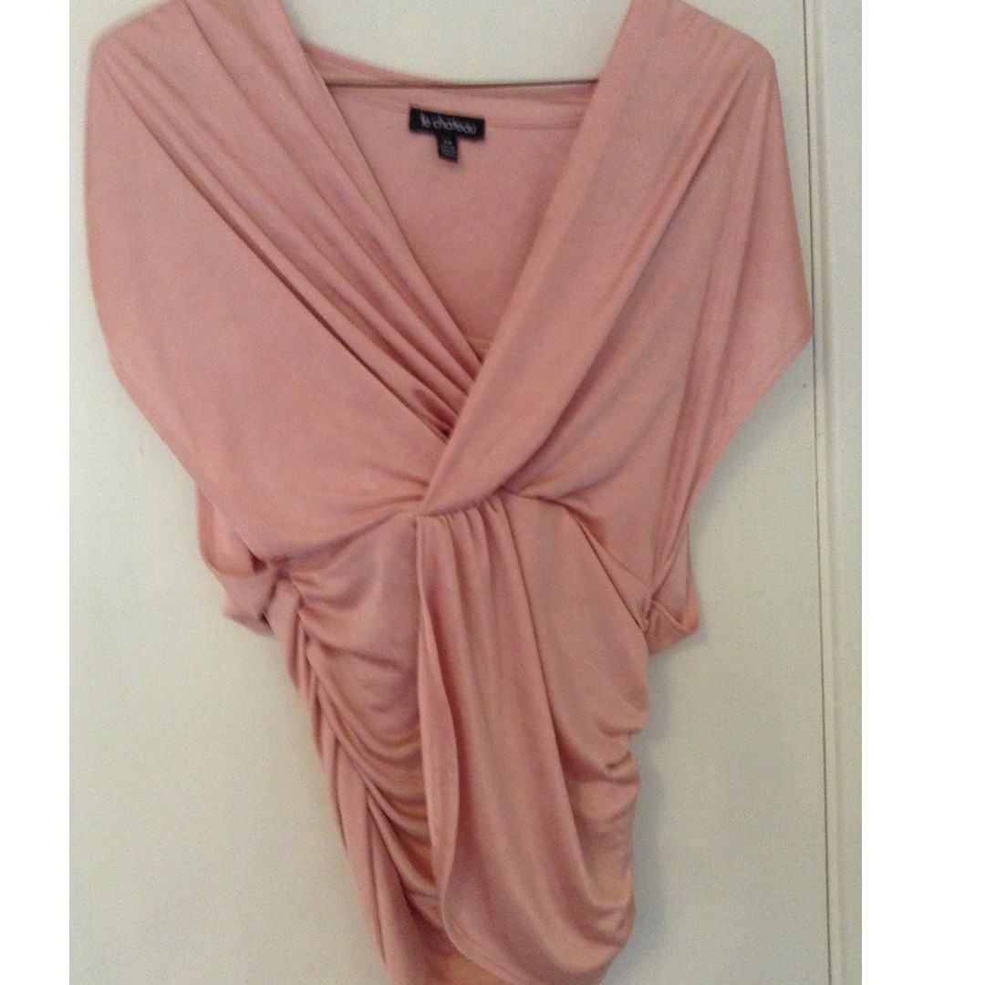 Le Chateau Pink Satin Waterfall Top