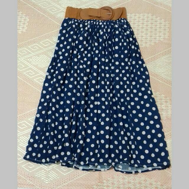 Long Polka Dot Skirt
