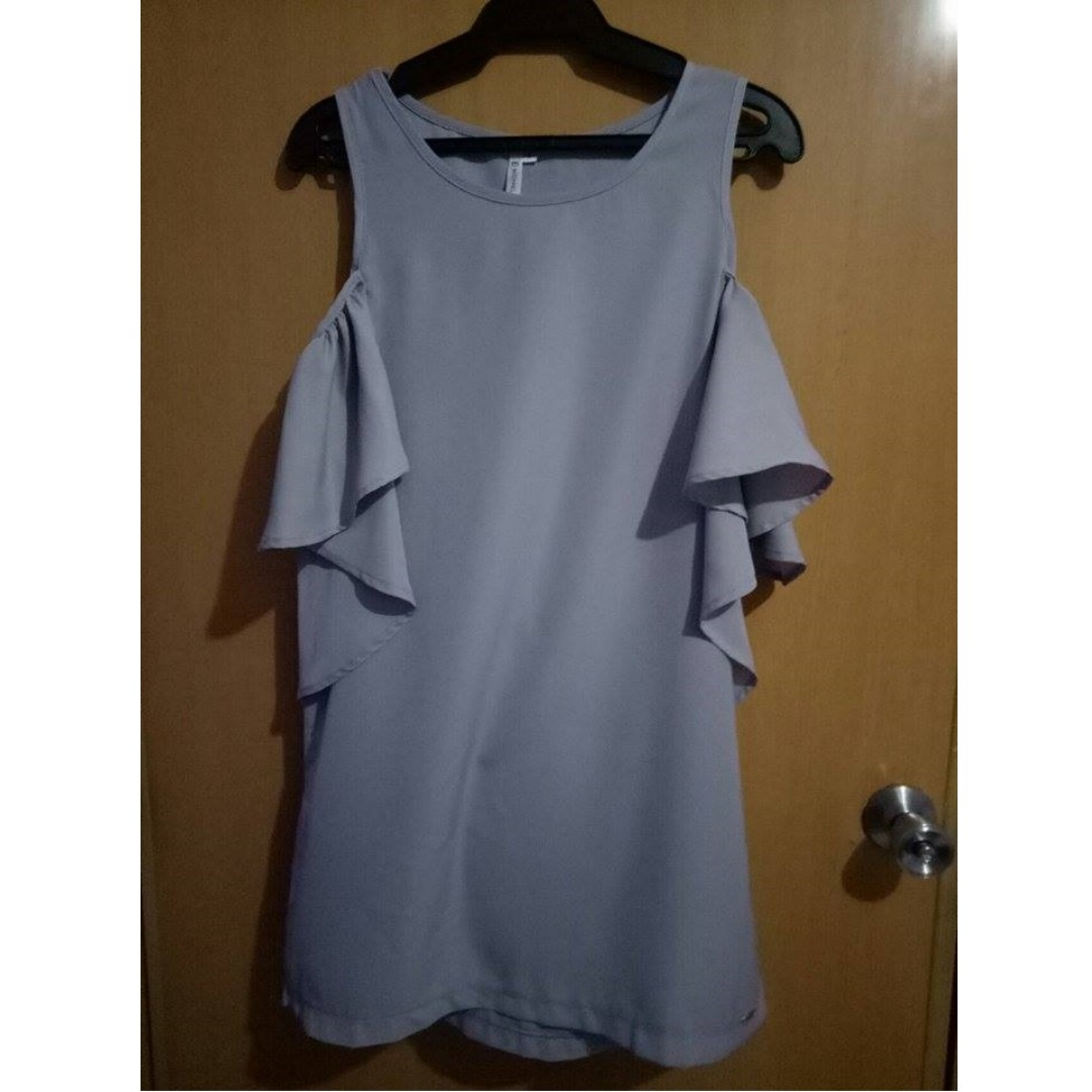 Michaela Cold Shoulder Dress in Gray