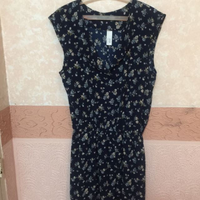 navy blue with floral print dress