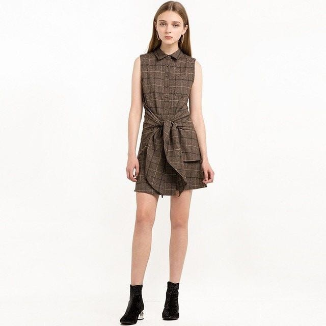 Nikky Co Tie Belted Plaid Dress