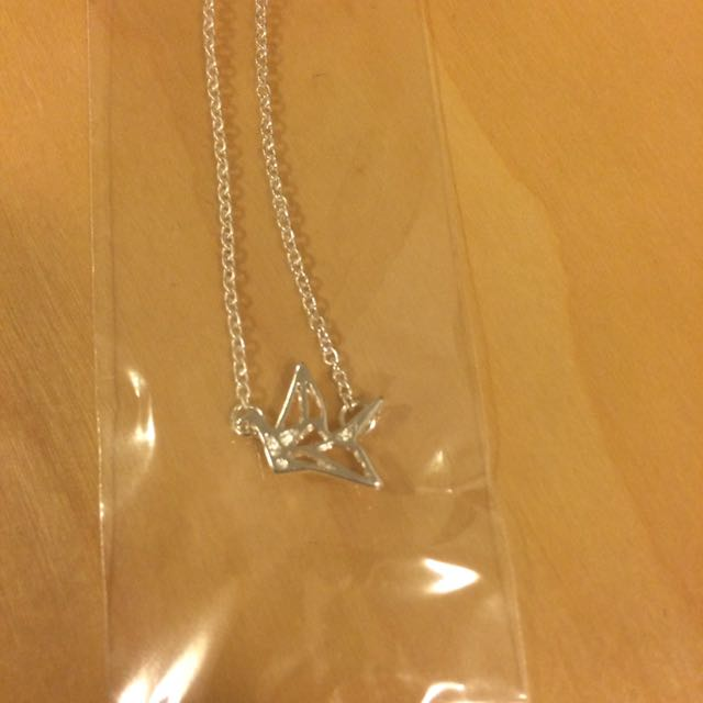 Origami Crane Silver Necklace