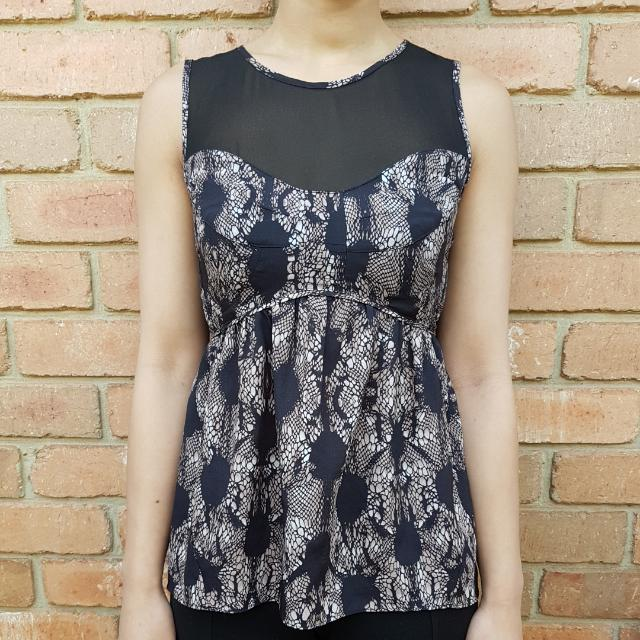 Portmans Pattern Print And Mesh Top