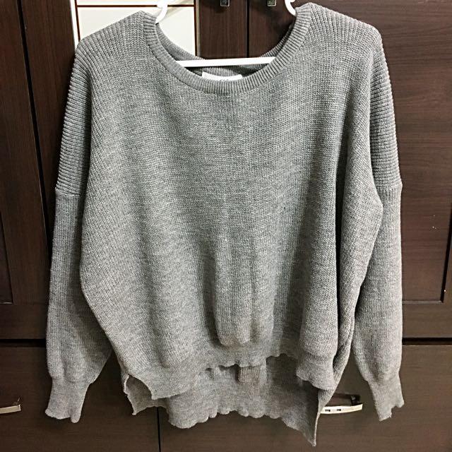 [QueenShop]短版灰色針織衫