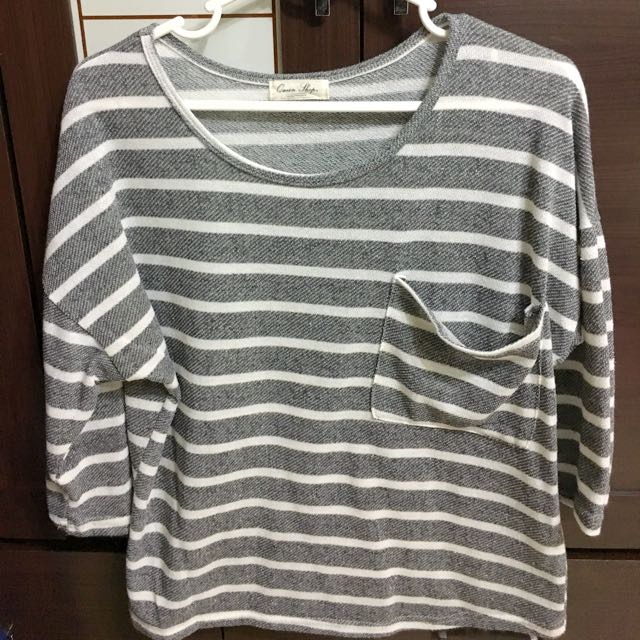 [QueenShop]條紋七分袖針織衫