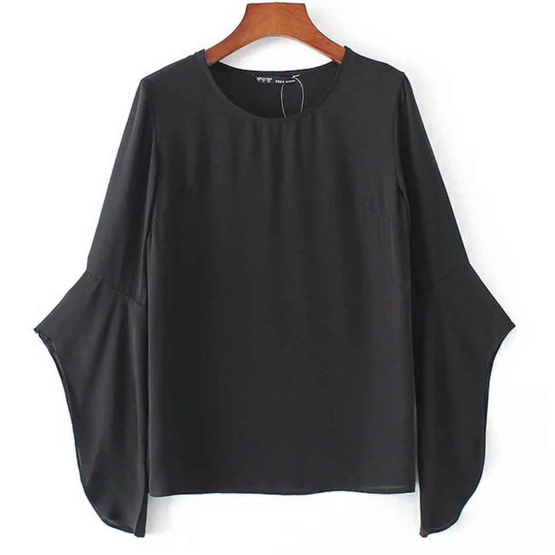 READY STOCK // FREE SHIPPING - Chiffon Trumpet Sleeves Top