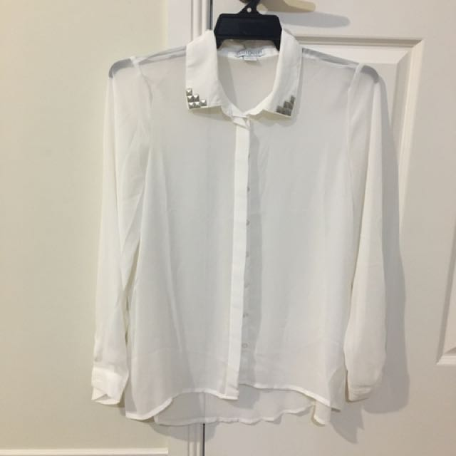 Sheer White Long Sleeve Top