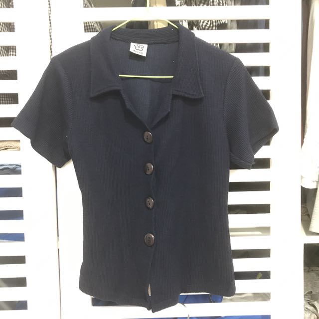 Short Sleeves Button Down Shirt In Navy Blue