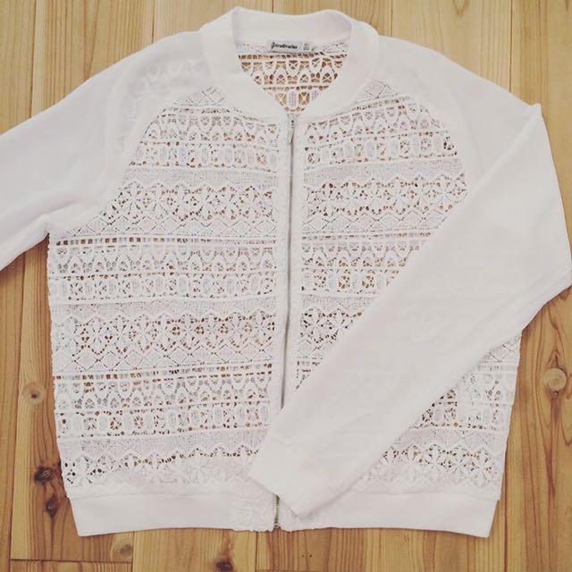 Stradivarius Crochet Bomber Jacket