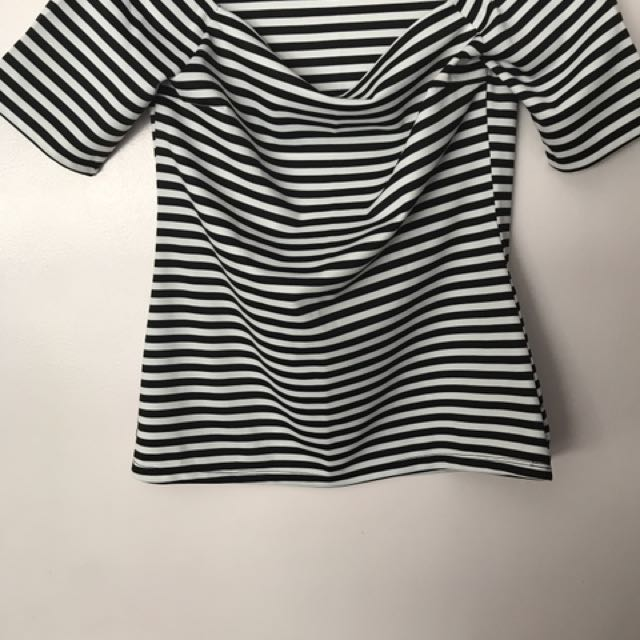 White/Navy Striper Off-The-Shoulder Top